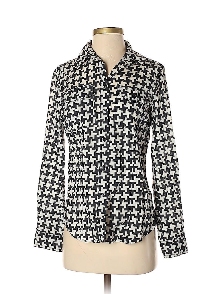 7add7b04077a7a MICHAEL Michael Kors 100% Cotton Houndstooth Black Long Sleeve ...