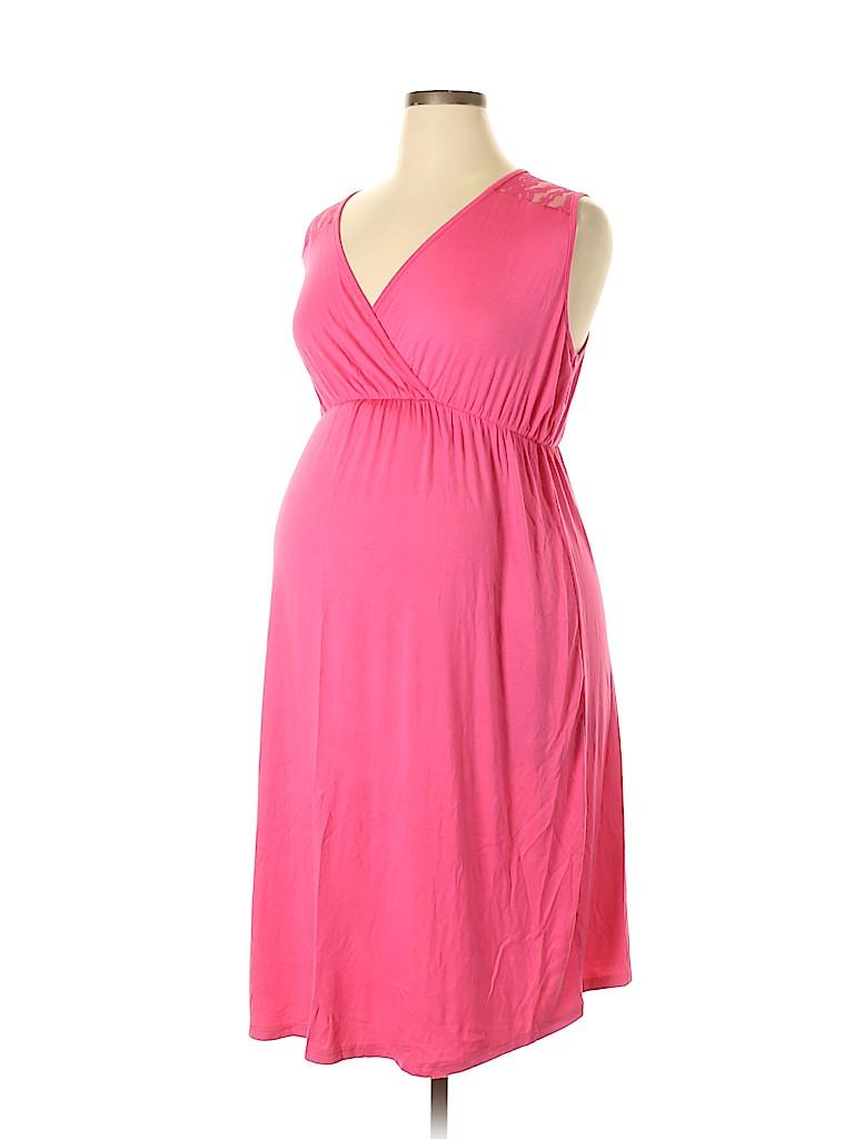 b14b35d2ae Three Seasons Maternity Crochet Pink Casual Dress Size 1X (Maternity ...