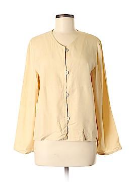 August Silk Long Sleeve Silk Top Size M