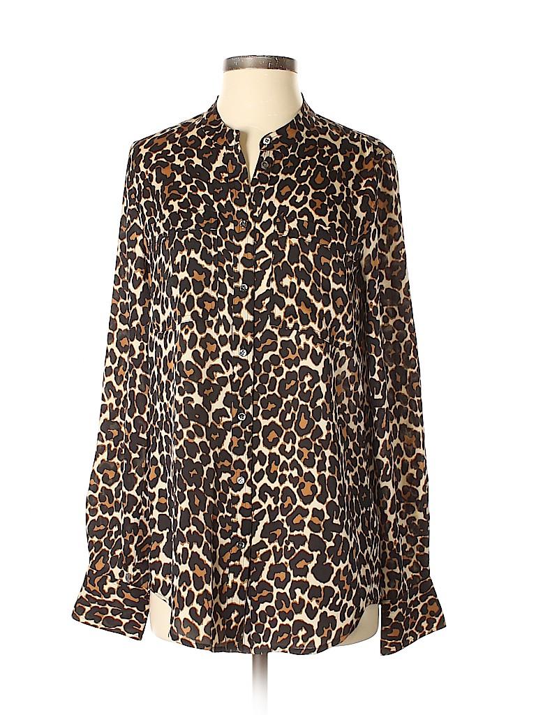 bac1e2efa08d6f J. Crew Animal Print Black Long Sleeve Silk Top Size 4 (Tall) - 88 ...