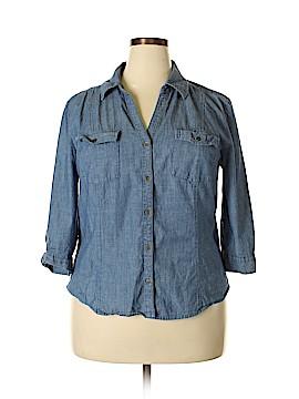 Karen Scott 3/4 Sleeve Button-Down Shirt Size XL