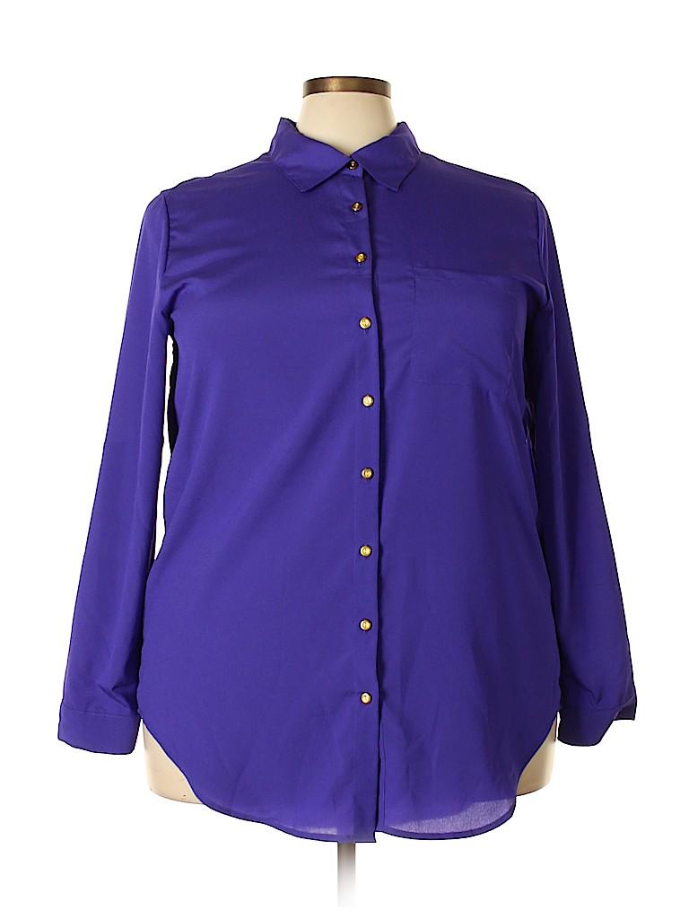 9401356d76c Ashley Stewart 100% Polyester Solid Dark Purple Long Sleeve Blouse ...