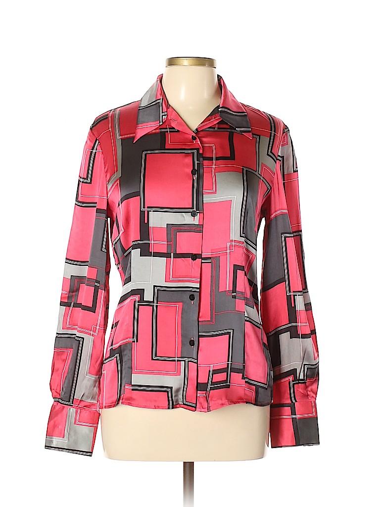 014adae7aea59 Oscar by Oscar De La Renta Print Red Long Sleeve Silk Top Size 10 ...