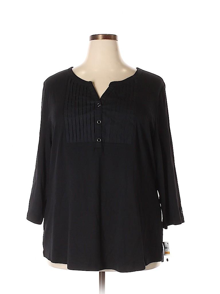 Karen Scott Women 3/4 Sleeve Henley Size 1X (Plus)