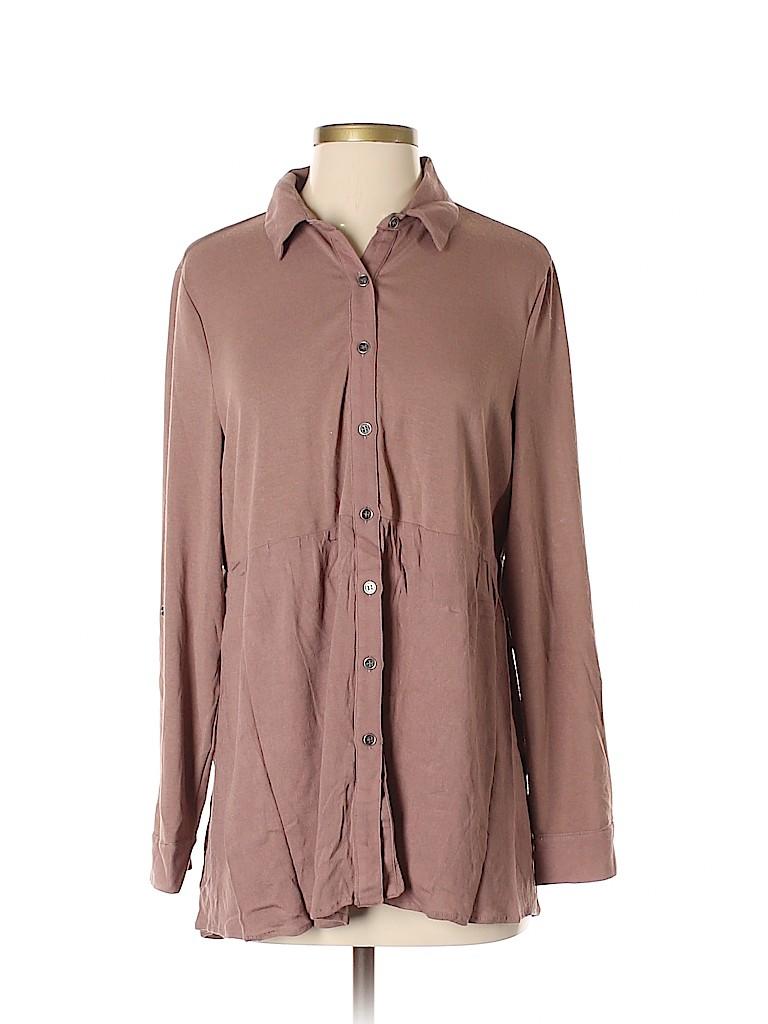 Entro Women Long Sleeve Button-Down Shirt Size S