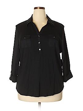 Karen Scott 3/4 Sleeve Button-Down Shirt Size 2X (Plus)