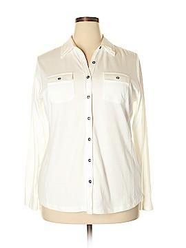 Karen Scott Long Sleeve Button-Down Shirt Size 0X (Plus)
