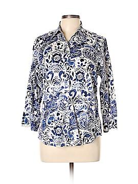 Lauren by Ralph Lauren 3/4 Sleeve Button-Down Shirt Size L