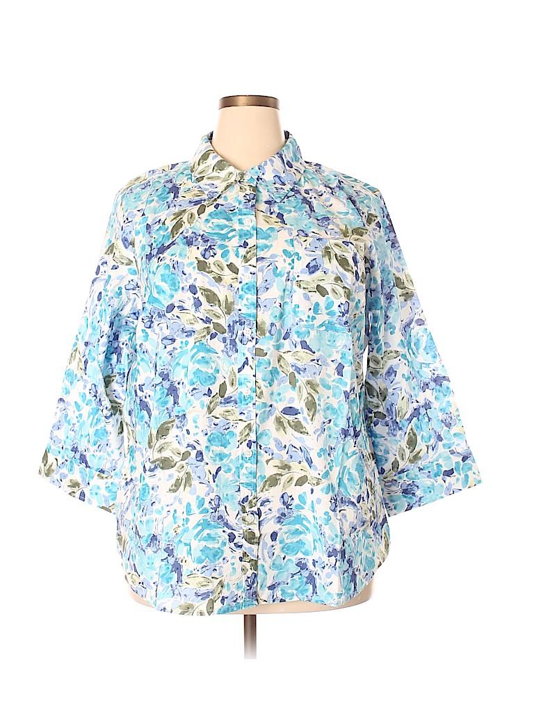 Karen Scott Women 3/4 Sleeve Button-Down Shirt Size 2X (Plus)