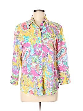 Chaps 3/4 Sleeve Button-Down Shirt Size L