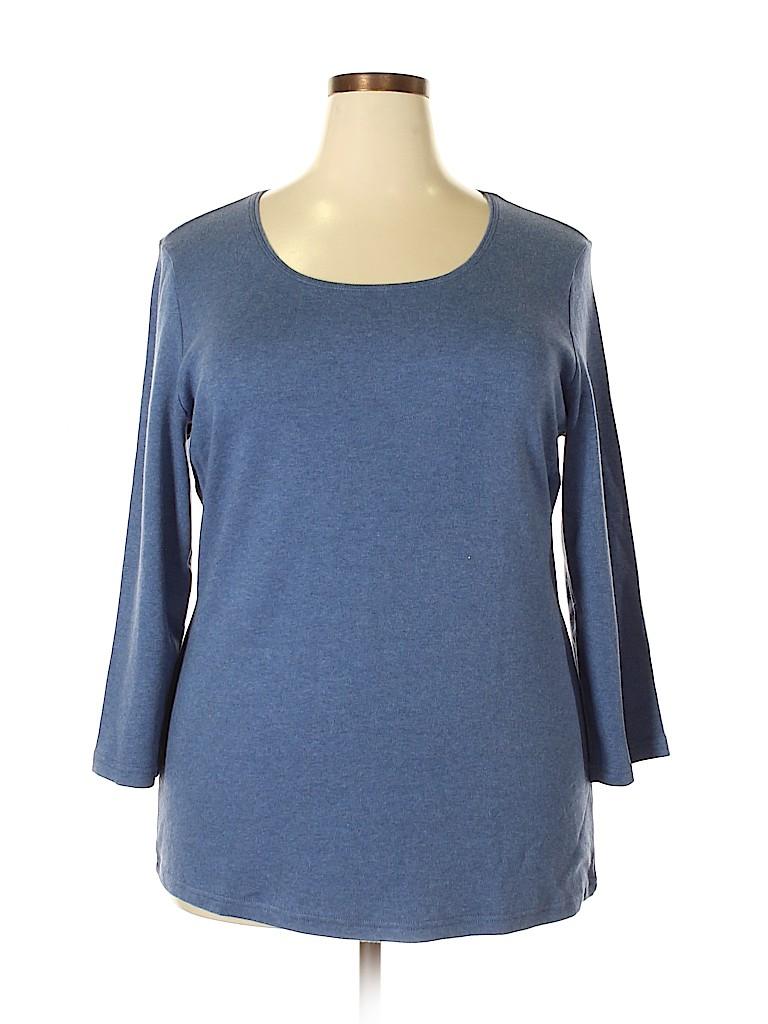 Karen Scott Women 3/4 Sleeve T-Shirt Size 1X (Plus)