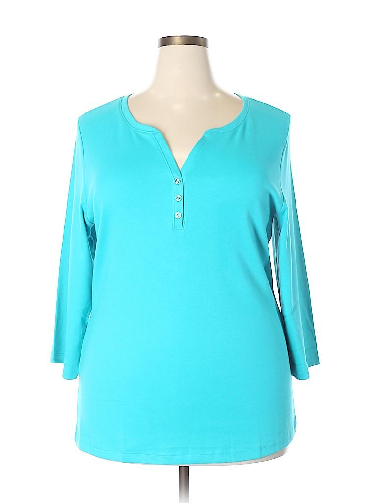 Karen Scott Women 3/4 Sleeve Henley Size 2X (Plus)