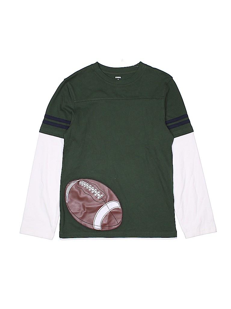 1695e46c33 Gymboree 100% Cotton Graphic Color Block Dark Green Long Sleeve T ...