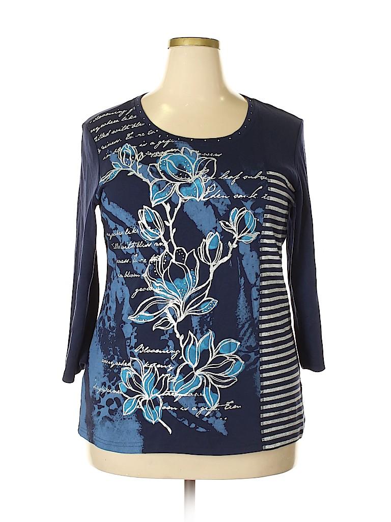 Karen Scott Women 3/4 Sleeve T-Shirt Size 0X (Plus)