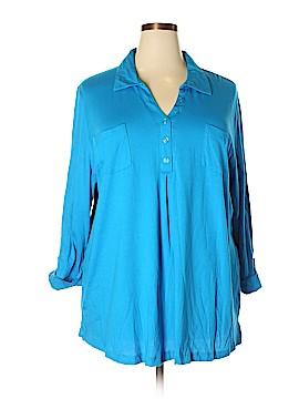 Karen Scott 3/4 Sleeve Button-Down Shirt Size 3X (Plus)