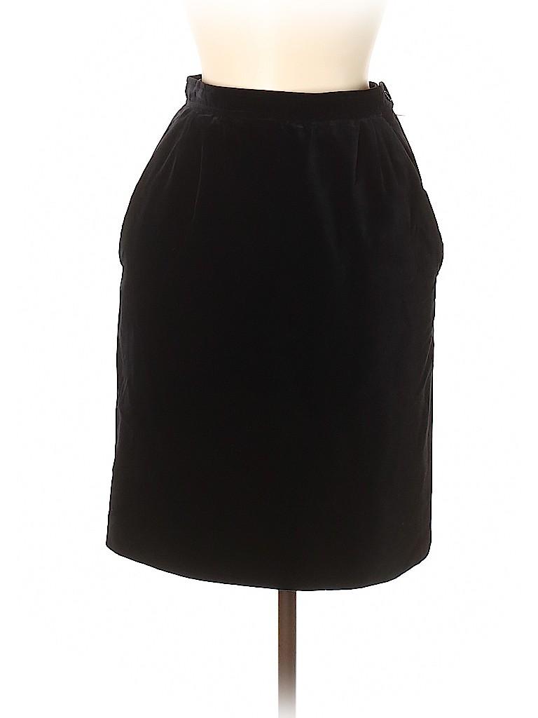 ccc760ca184 Yves Saint Laurent Rive Gauche Solid Black Casual Skirt Size 38 (FR ...