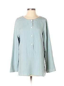 Halston Long Sleeve Silk Top Size 8