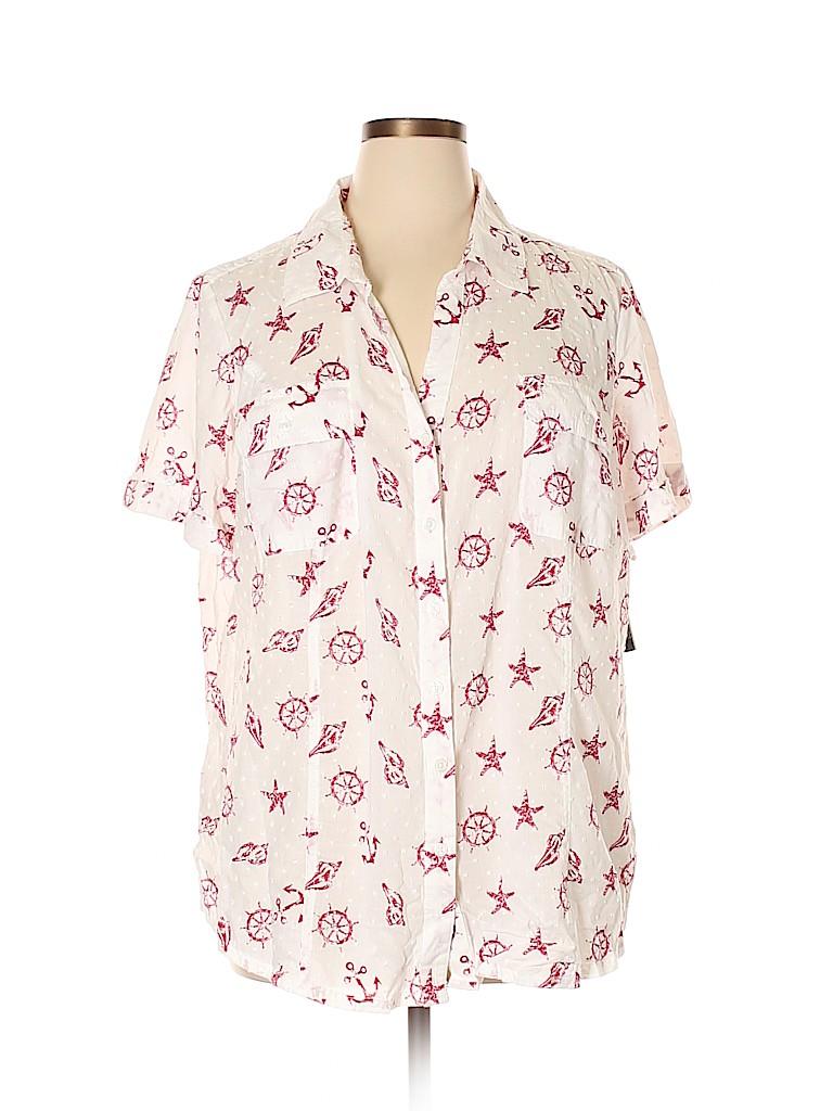 Karen Scott Women Short Sleeve Button-Down Shirt Size 3X (Plus)