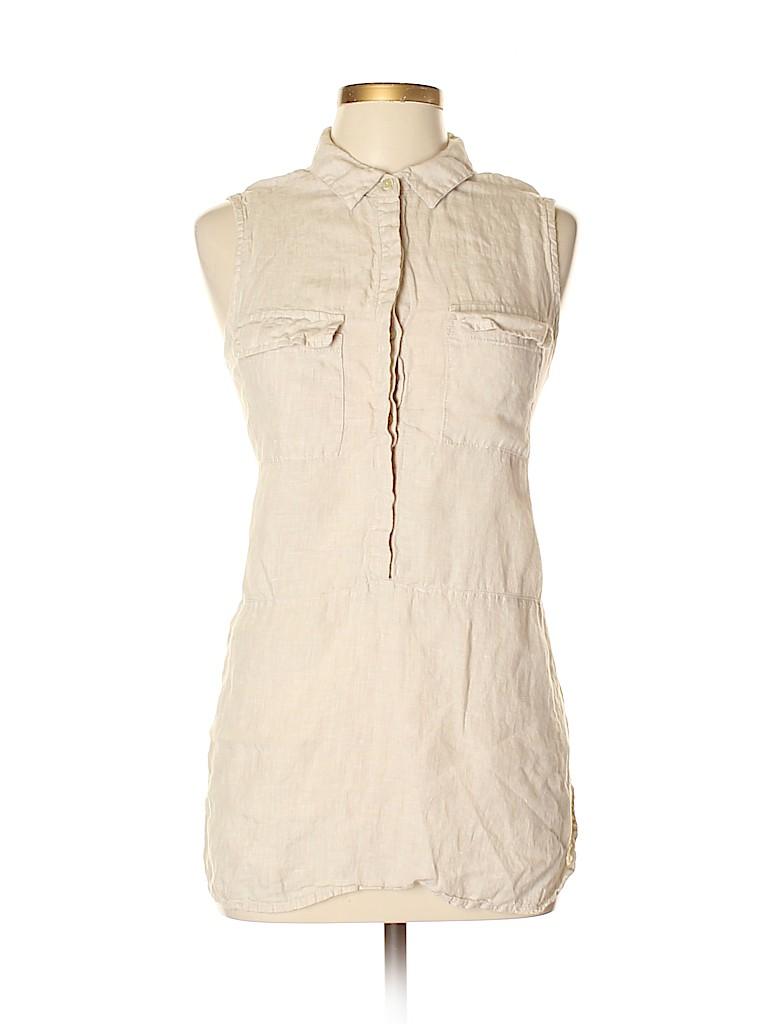 99437ecce Jones New York 100% Linen Solid Beige Sleeveless Button-Down Shirt ...
