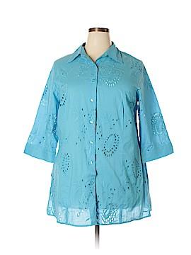 Avenue 3/4 Sleeve Button-Down Shirt Size 18 (Plus)