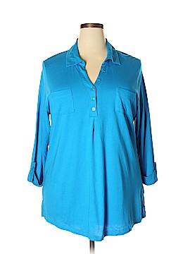Karen Scott 3/4 Sleeve Button-Down Shirt Size 1X (Plus)