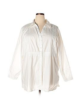 Susan Graver Long Sleeve Button-Down Shirt Size 3X (Plus)