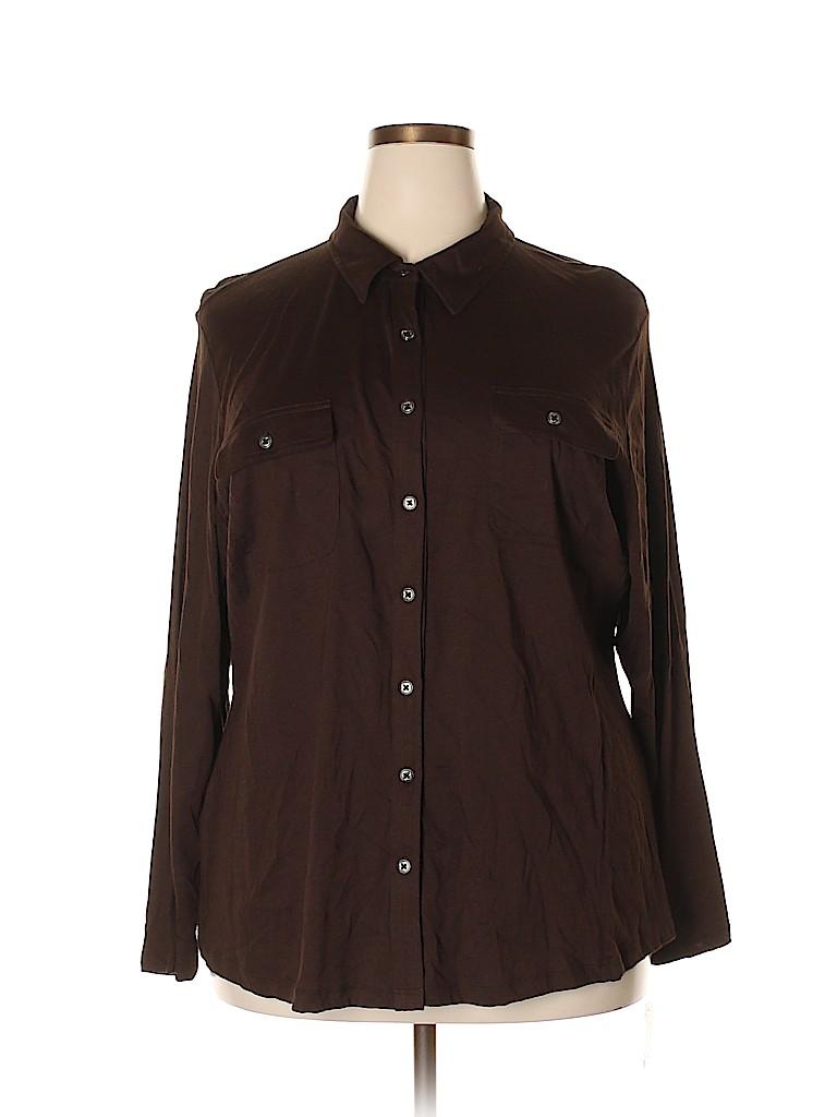 Karen Scott Women Long Sleeve Button-Down Shirt Size 3X (Plus)