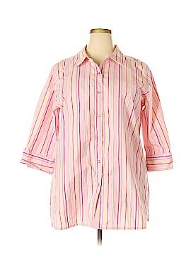 Denim & Co 3/4 Sleeve Button-Down Shirt Size 2X (Plus)