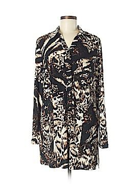 Susan Graver Long Sleeve Button-Down Shirt Size M