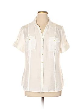 DressBarn Short Sleeve Button-Down Shirt Size XL