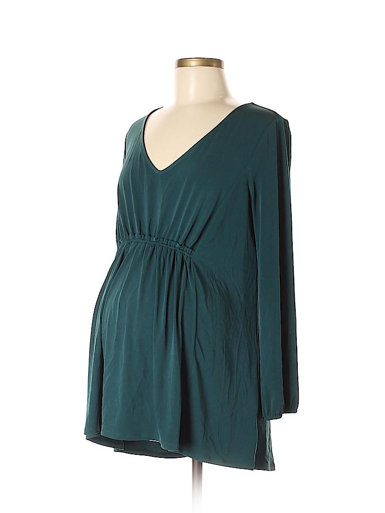 2e05ec6c8c95e A Pea in the Pod Solid Dark Green 3/4 Sleeve Blouse Size M ...