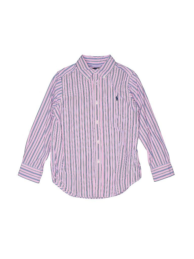 ecbd48f36ce Ralph Lauren 100% Cotton Stripes Light Pink Long Sleeve Button-Down ...