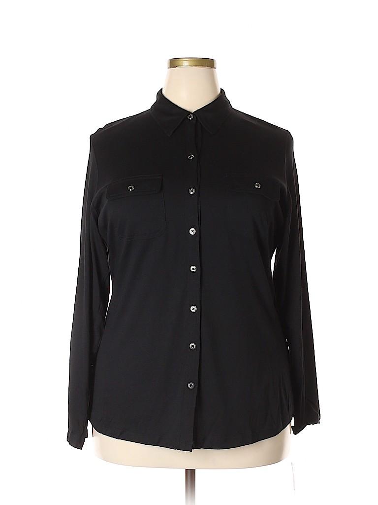 Karen Scott Women Long Sleeve Button-Down Shirt Size 1X (Plus)