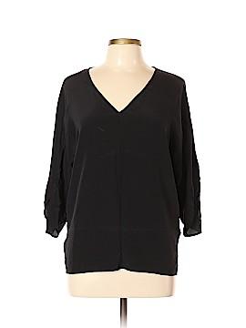 Ecru 3/4 Sleeve Silk Top Size XL