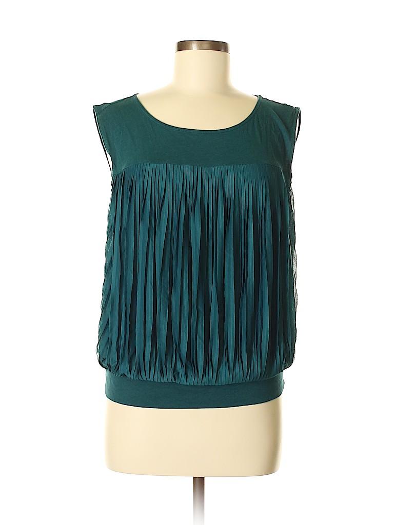 260b29144354b7 Ann Taylor LOFT Solid Dark Green Sleeveless Blouse Size M - 69% off ...