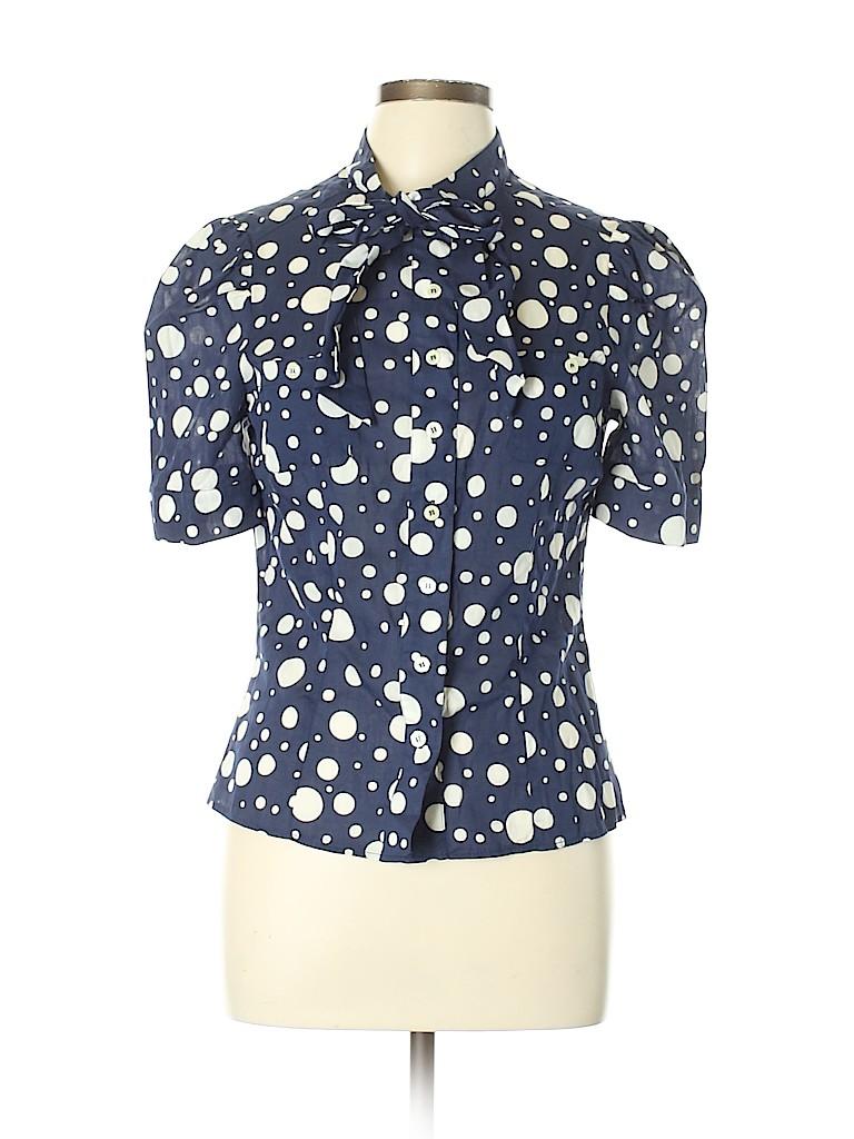 f9105e0fd Divided by H&M 100% Cotton Polka Dots Dark Blue Short Sleeve Button ...