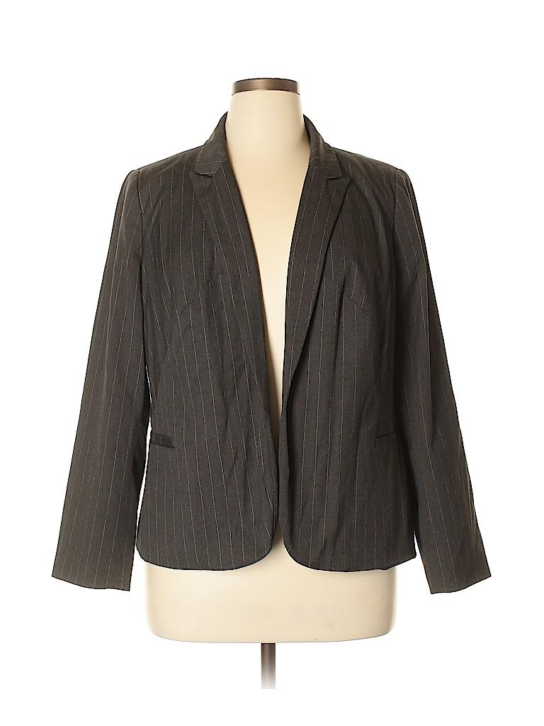 5e5bfe8df6f Worthington Stripes Gray Blazer Size 1X (Plus) - 57% off