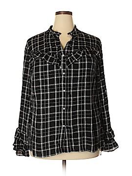 INC International Concepts Long Sleeve Button-Down Shirt Size 1X (Plus)
