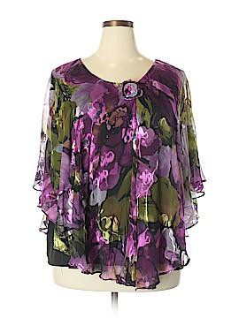 Draper's & Damon's 3/4 Sleeve Silk Top Size 2X (Plus)