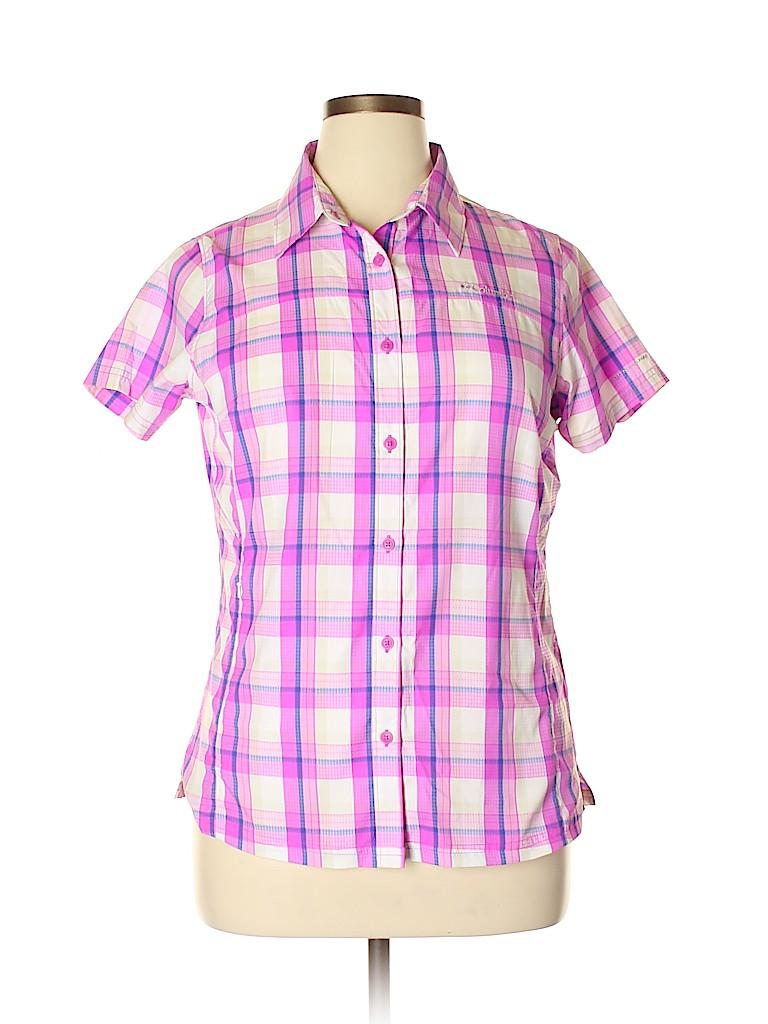 95d891122 Columbia 100% Polyester Plaid Purple Short Sleeve Button-Down Shirt ...