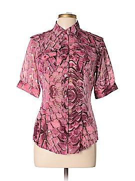 Just Cavalli Short Sleeve Silk Top Size 46 (IT)