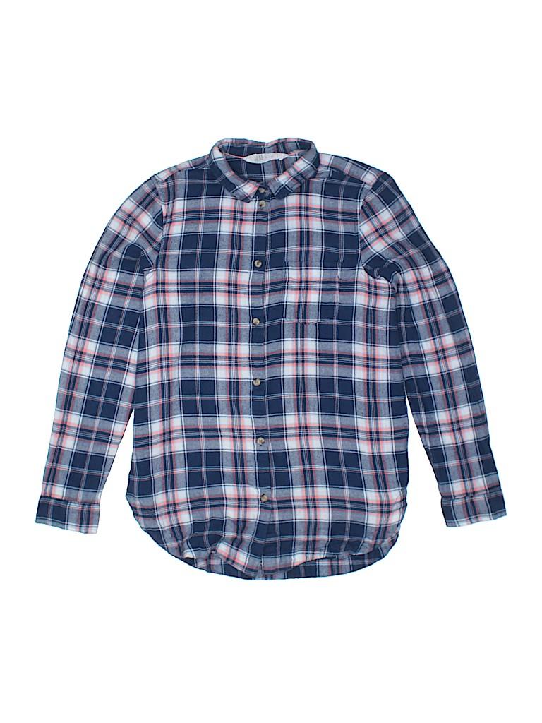 da20c103650 H M 100% Cotton Plaid Dark Blue Long Sleeve Button-Down Shirt Size ...