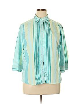 Studio Works 3/4 Sleeve Button-Down Shirt Size 1X (Plus)