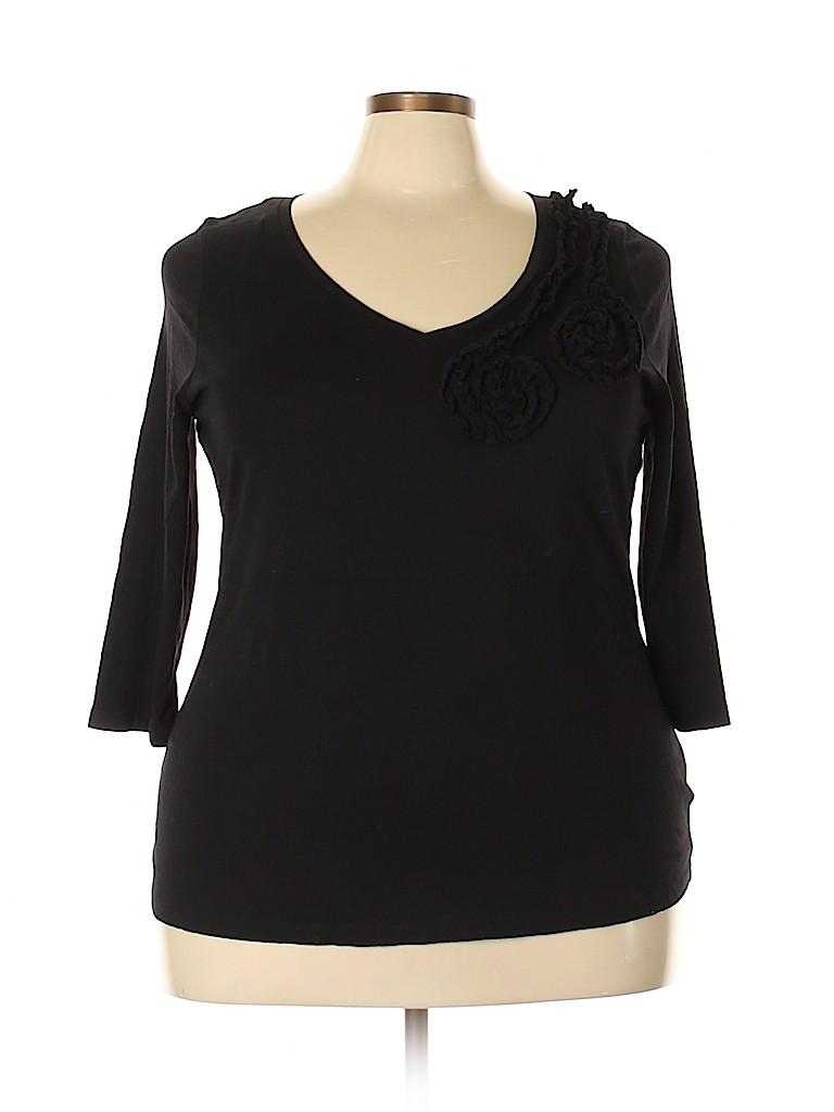 Susan Bristol Women 3/4 Sleeve Top Size 3X (Plus)