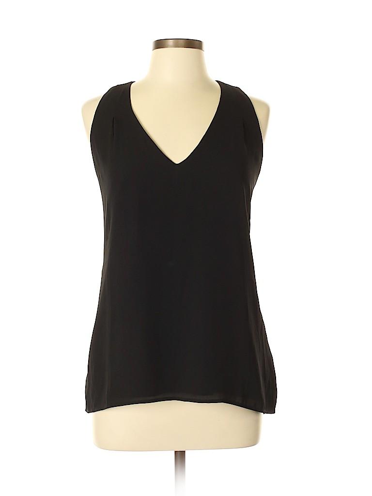 b9cee1ba735568 Banana Republic 100% Polyester Solid Black Sleeveless Blouse Size L ...