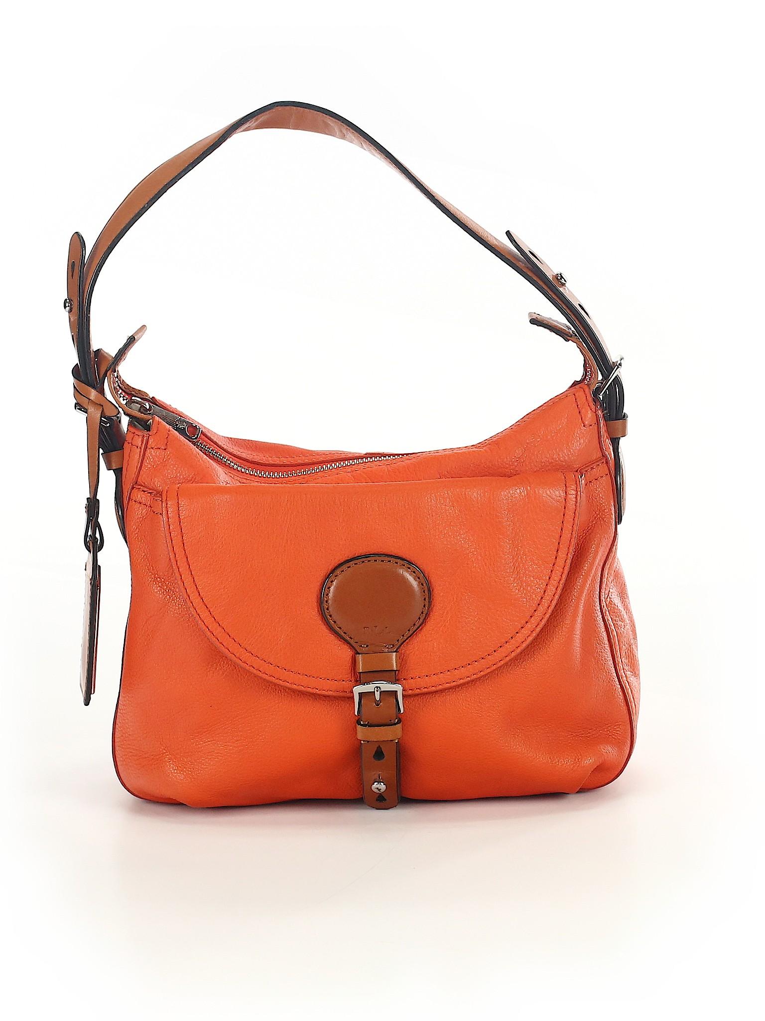 Lauren by Ralph Lauren 100% Leather Solid Orange Leather Shoulder ... df201bb4b0507