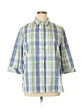 Tribal 3/4 Sleeve Button-Down Shirt Size 22 (Plus)