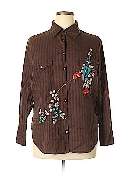 Mixit Long Sleeve Button-Down Shirt Size 1X (Plus)