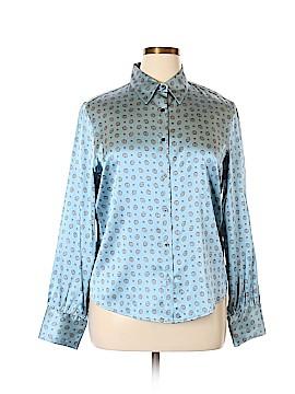 AK Anne Klein Long Sleeve Silk Top Size 16