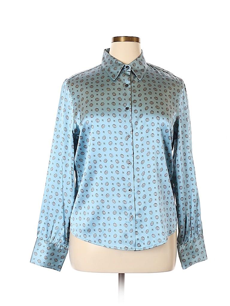 0b151aba76cd9 AK Anne Klein Print Light Blue Long Sleeve Silk Top Size 16 - 67 ...